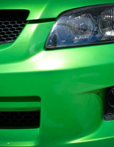 Front left bumper after paint chip repairs