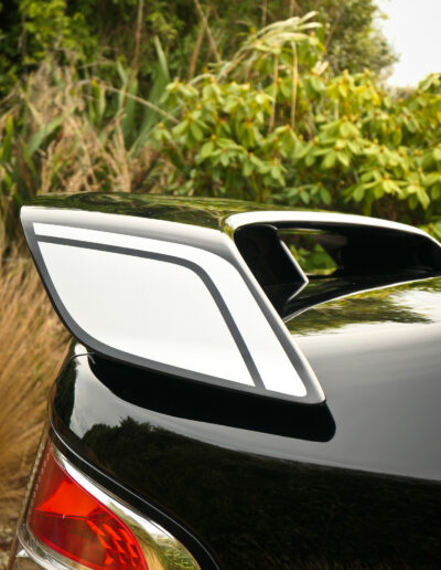 Rear wing after application of ceramic coating